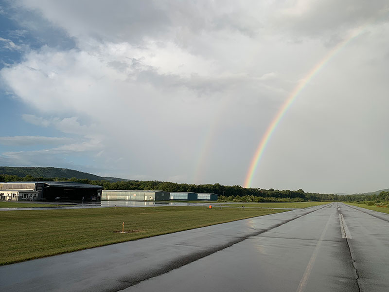 rainbow over airport